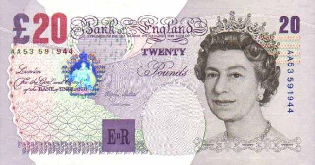 Фунт стерлинговбумажная денежная единица банкнота
